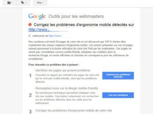 problème ergonomie mobile par Google