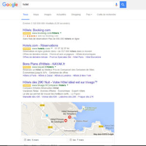 Sur certaines pages de résultats aucun site ne sera visible hors adwords