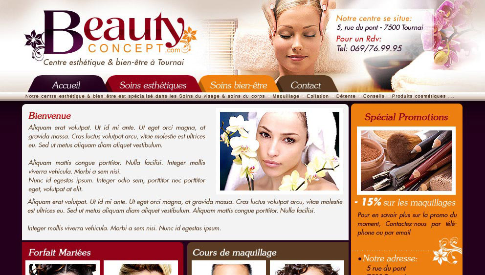 Creation site internet salon esthetique