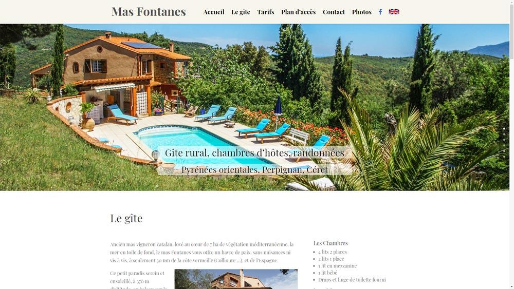 Site d'un gite : le mas Fontanes à Oms (66)