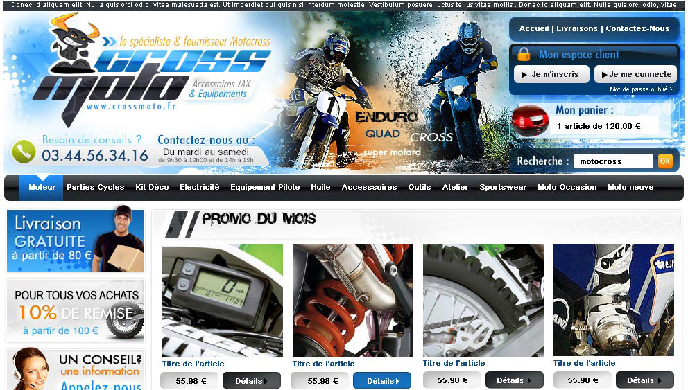 Site e commerce motocross 66