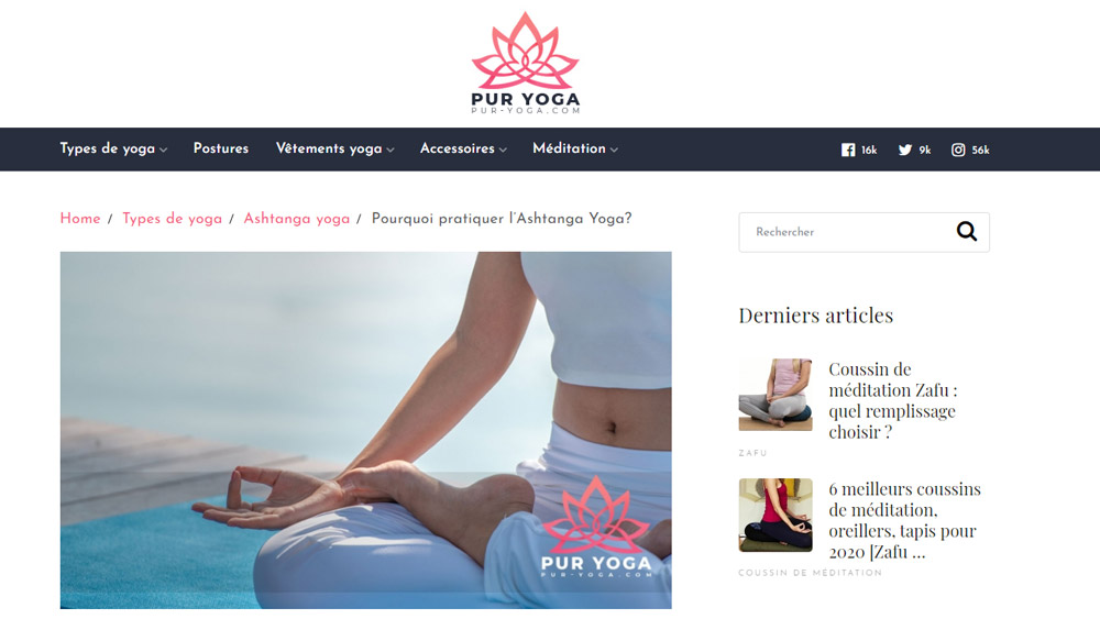 Creation site internet portail yoga
