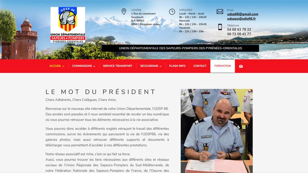 Realisation site internet union departementale des pompiers 66