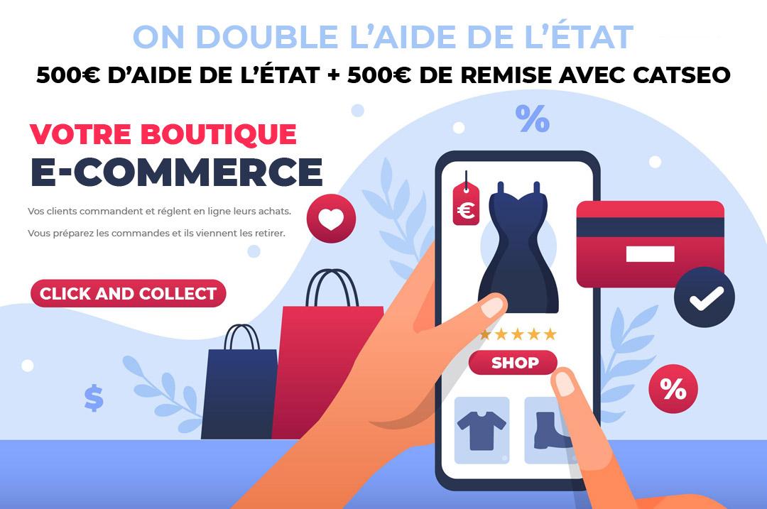 Offre site e commerce click and collect -  1000€ offerts sur votre site e commerce